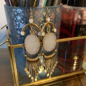 Dangle earrings with simulated gems